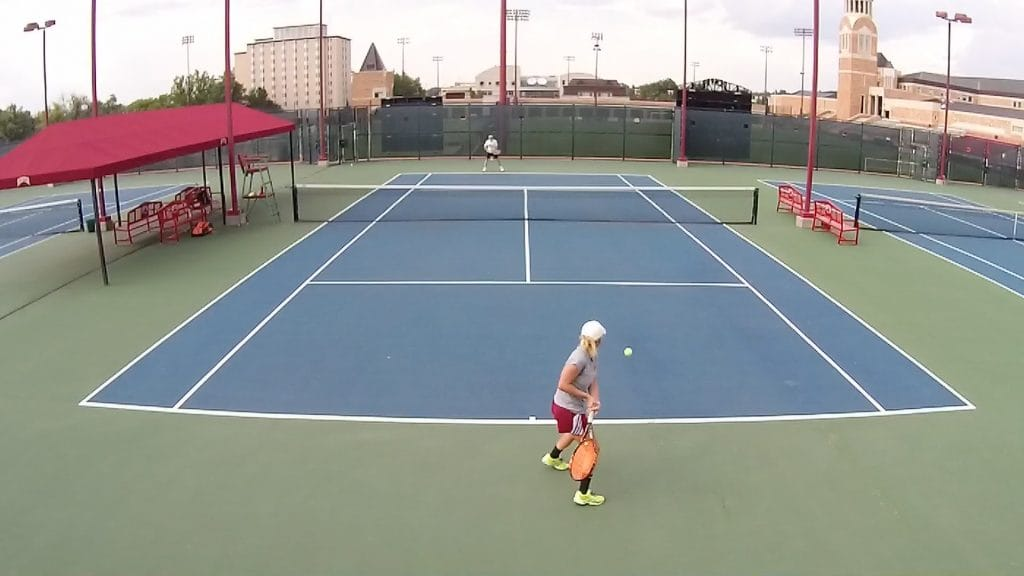 Hitting a two-handed forehand